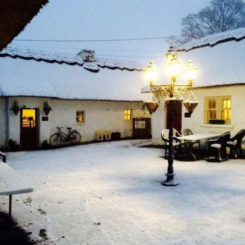 Courtyard with snow